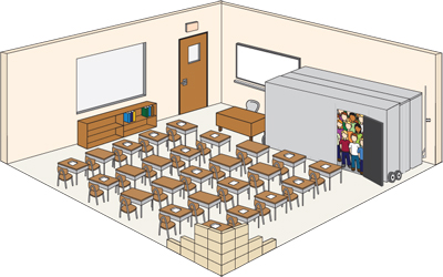 Classroom illustration with the Hide-Away Shelter